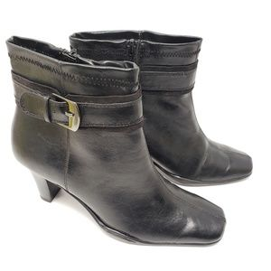 Apt 9 Heeled Black Ankle Boots, 9W